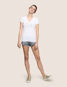ARMANI EXCHANGE STUDDED AND STITCHED V-NECK TEE Logo T-shirt Woman d