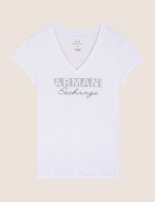 ARMANI EXCHANGE STUDDED AND STITCHED V-NECK TEE Logo T-shirt Woman r