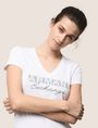 ARMANI EXCHANGE STUDDED AND STITCHED V-NECK TEE Logo T-shirt Woman a
