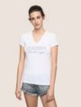 ARMANI EXCHANGE STUDDED AND STITCHED V-NECK TEE Logo T-shirt Woman f