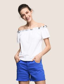 ARMANI EXCHANGE GATHERED OFF-THE-SHOULDER TOP S/S Knit Top Woman a