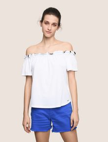 ARMANI EXCHANGE GATHERED OFF-THE-SHOULDER TOP S/S Knit Top Woman f
