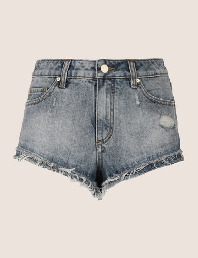 DOUBLE-HEM FRAYED DENIM SHORT