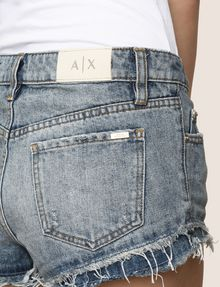 ARMANI EXCHANGE DOUBLE-HEM FRAYED DENIM SHORT Denim Short Woman b