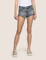ARMANI EXCHANGE DOUBLE-HEM FRAYED DENIM SHORT Denim Short Woman f