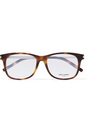 SAINT LAURENT D-frame tortoiseshell acetate and silver-tone glasses