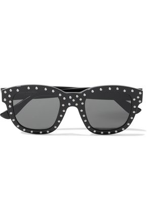 SAINT LAURENT Square-frame studded acetate sunglasses
