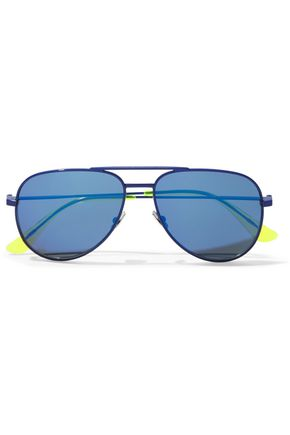 SAINT LAURENT Aviator-style neon-trimmed metal sunglasses