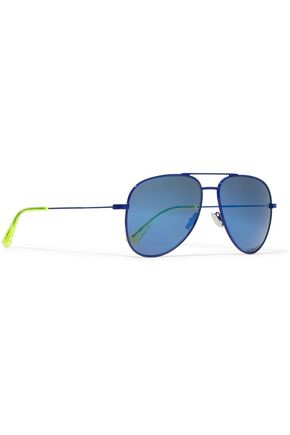 fdc140a7e5 ... SAINT LAURENT Aviator-style neon-trimmed metal sunglasses ...