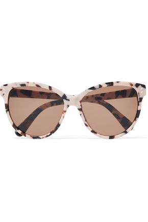 WOMAN CAT-EYE PRINTED ACETATE SUNGLASSES BROWN