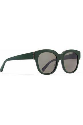 STELLA McCARTNEY Cat-eye chain-trimmed acetate sunglasses