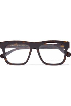 STELLA McCARTNEY D-frame chain-embellished tortoiseshell acetate optical glasses