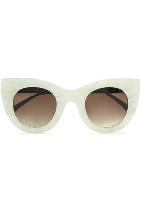 THIERRY LASRY Cat-eye printed acetate and metal sunglasses