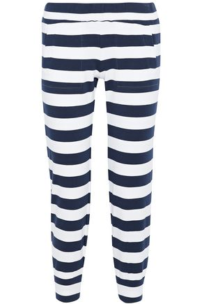 NORMA KAMALI Cropped striped stretch cotton-jersey track pants