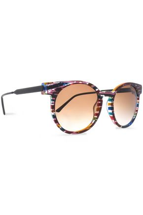 THIERRY LASRY Round-frame printed acetate and oxidized metal sunglasses