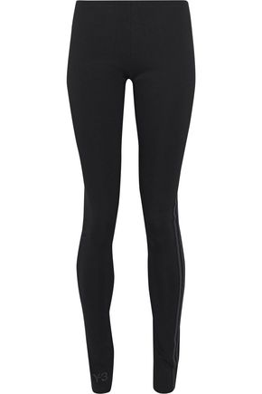 WOMAN STRIPED SRETCH-JERSEY LEGGINGS BLACK