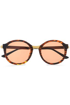 THIERRY LASRY Round-frame acetate and silver-tone sunglasses