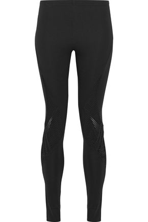 Y-3 Mesh-paneled stretch-knit leggings