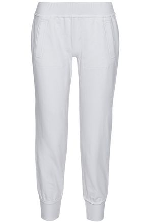 NORMA KAMALI Cropped stretch cotton-jersey track pants