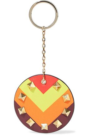 VALENTINO GARAVANI Studded printed leather keychain