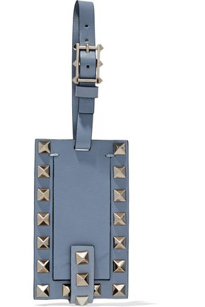 VALENTINO Studded textured-leather luggage tag