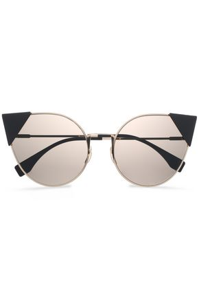 FENDI Cat-eye rose gold-tone and acetate sunglasses
