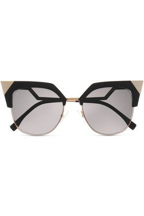 FENDI Cat-eye gold-tone and acetate sunglasses