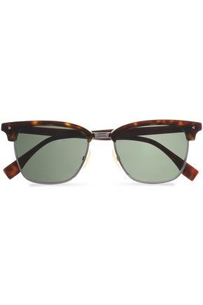 FENDI D-frame tortoiseshell acetate and silver-tone sunglasses