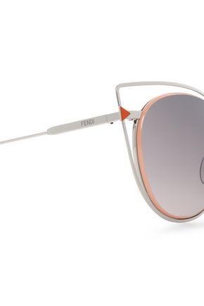 FENDI Cat-eye acetate and silver-tone sunglasses
