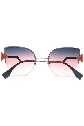 FENDI Cat-eye silver-tone and acetate sunglasses