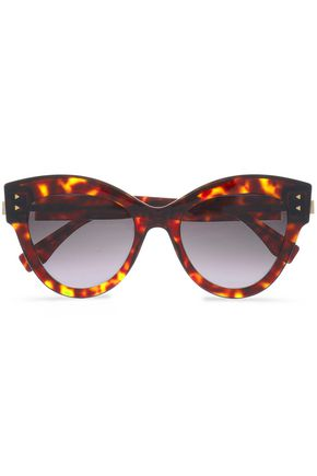 FENDI Cat-eye tortoiseshell acetate and gold-tone sunglasses