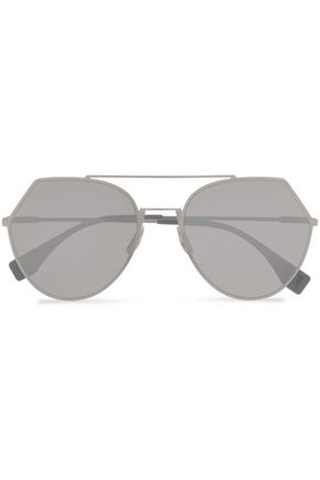 FENDI Aviator-style silver-tone sunglasses