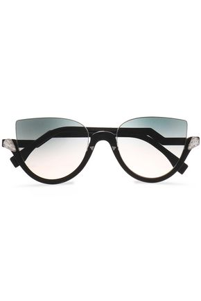 FENDI Cat-eye crystal-embellished acetate and silver-tone sunglasses