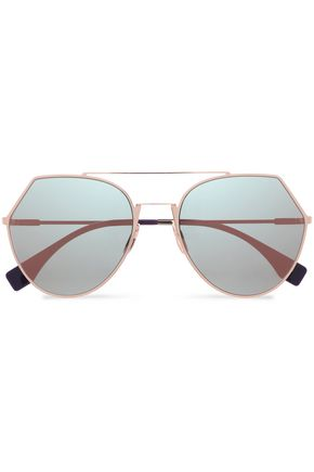 FENDI Aviator-style rose gold-tone mirrored sunglasses