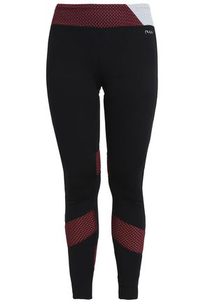 NUYU Mesh-paneled stretch leggings