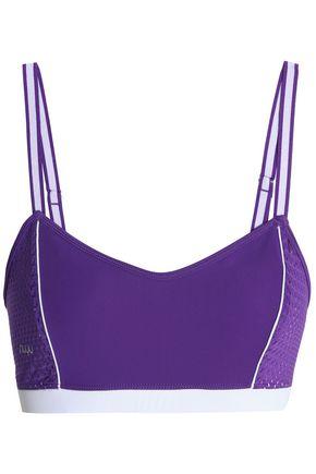 NUYU Mesh-paneled stretch sports bra