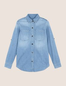 ARMANI EXCHANGE ROLL-SLEEVE CHAMBRAY BUTTON-DOWN SHIRT L/S Woven Top Woman r