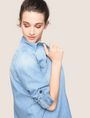 ARMANI EXCHANGE ROLL-SLEEVE CHAMBRAY BUTTON-DOWN SHIRT L/S Woven Top Woman a