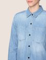 ARMANI EXCHANGE ROLL-SLEEVE CHAMBRAY BUTTON-DOWN SHIRT L/S Woven Top Woman b