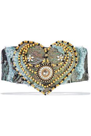 REEM ACRA Embellished fil coupé jacquard waist belt