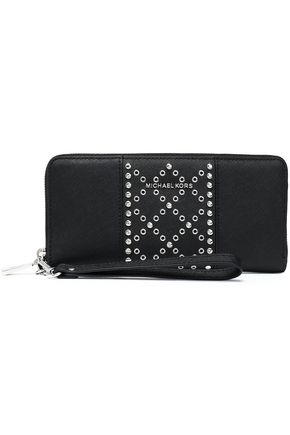 MICHAEL MICHAEL KORS Embellished textured-leather wallet