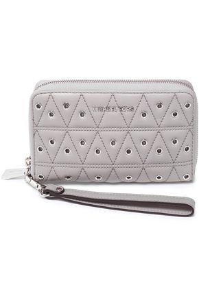 MICHAEL MICHAEL KORS Eyelet-embellished quilted leather wallet