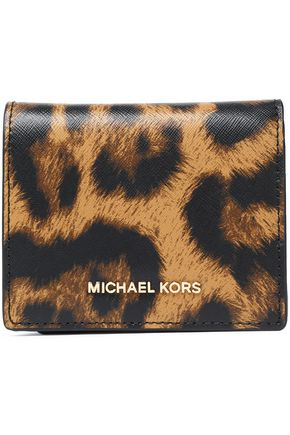 MICHAEL MICHAEL KORS Leopard-print textured-leather wallet