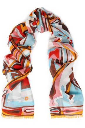 EMILIO PUCCI Printed cashmere and silk-blend gauze scarf