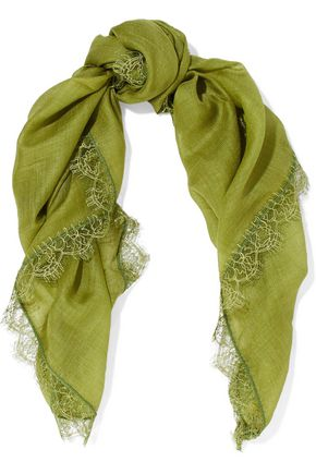 VALENTINO Lace-trimmed cashmere and silk-blend gauze scarf