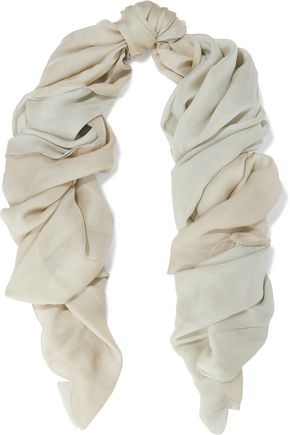 VALENTINO Scalloped two-tone silk-georgette scarf