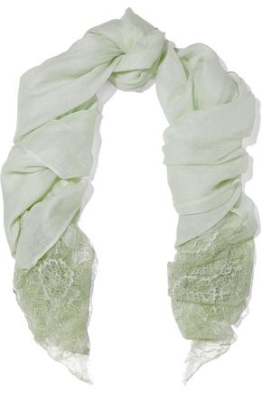 VALENTINO Lace-paneled linen and cashmere-blend gauze scarf