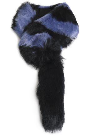 CHARLOTTE SIMONE Striped faux fur scarf