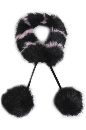 CHARLOTTE SIMONE Pompom-embellished striped faux fur collar
