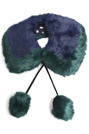CHARLOTTE SIMONE Pompom-embellished two-tone faux fur collar